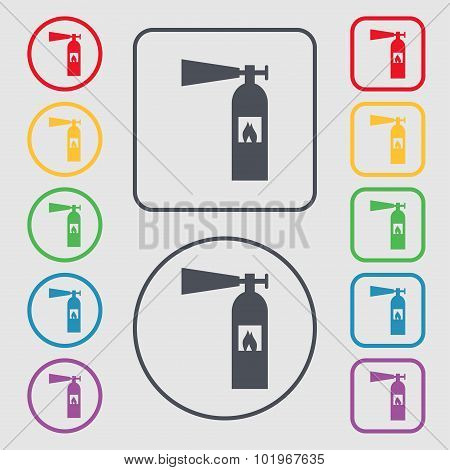 Fire Extinguisher Icon Sign. Symbols On The Round And Square Buttons With Frame. Vector
