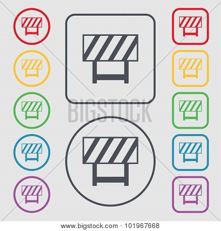 Road Barrier Icon Sign. Symbols On The Round And Square Buttons With Frame. Vector