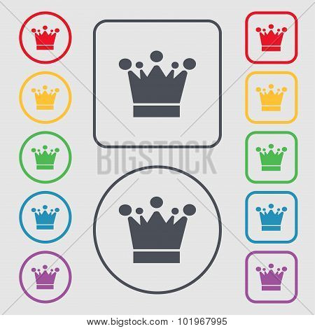 Crown Icon Sign. Symbols On The Round And Square Buttons With Frame. Vector