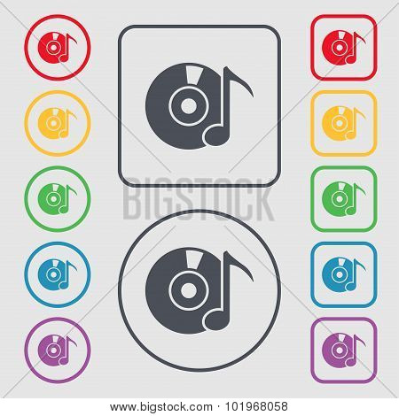 Cd Or Dvd Icon Sign. Symbols On The Round And Square Buttons With Frame. Vector