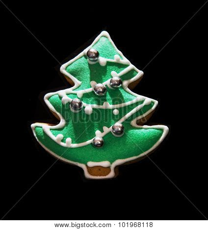 Green Christmas Tree Shaped Gingerbread Cookie