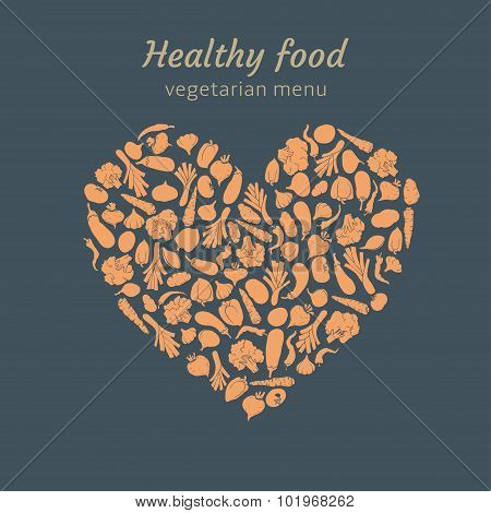 silhouette of vegetables shaped in heart.