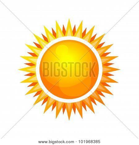 Cartoon Style Glossy Sun Icon. Vector