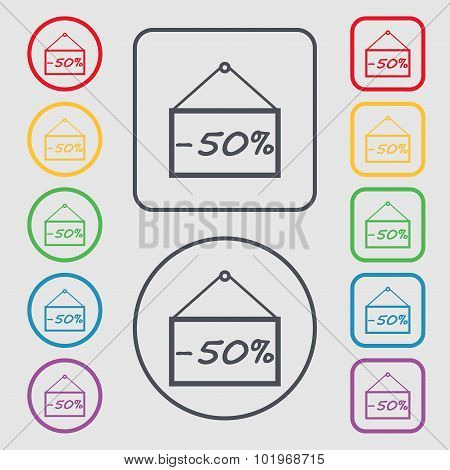 50 Discount Icon Sign. Symbols On The Round And Square Buttons With Frame. Vector