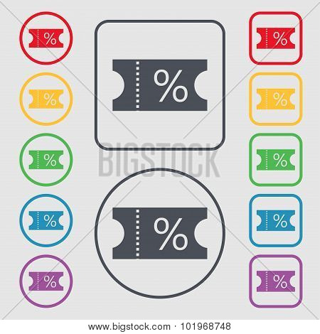 Ticket Discount Icon Sign. Symbols On The Round And Square Buttons With Frame. Vector