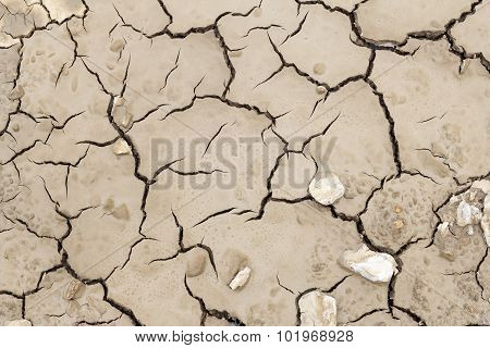 Overdried Cracked Clay Texture Earth