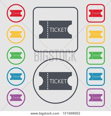 Ticket Icon Sign. Symbols On The Round And Square Buttons With Frame. Vector