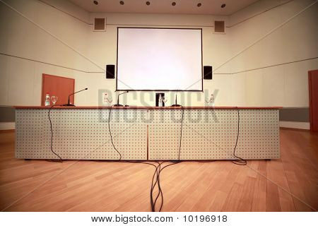 Registration Of Afloor, Walls And Table With Microphones In Conference Room