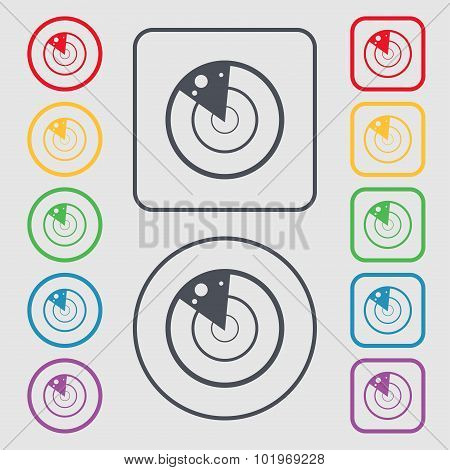 Radar Icon Sign. Symbols On The Round And Square Buttons With Frame. Vector