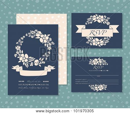 Invitation Card Set With Paster Flower Motives