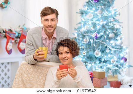 Nice couple drinking tea