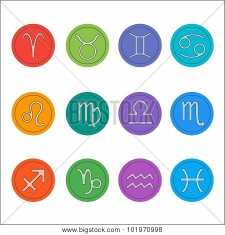 Zodiac signs. Flat thin set of simple round zodiac icons on color background - for web and print. Ho