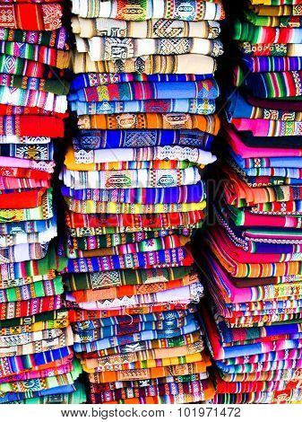Colorful blankets in bolivian street market