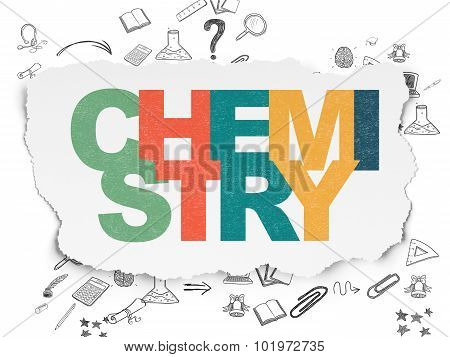 Learning concept: Chemistry on Torn Paper background