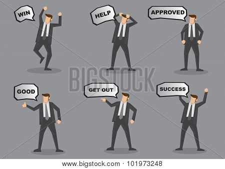 Businessman With Speech Balloon Vector Character Set