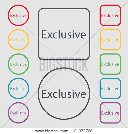 Exclusive Sign Icon. Special Offer Symbol. Symbols On The Round And Square Buttons With Frame. Vecto
