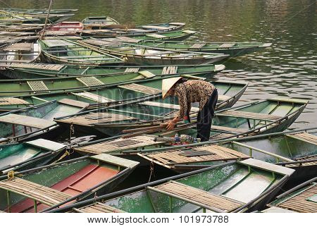 Vietnamese Boats On The River