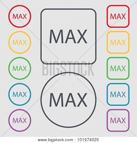 Maximum Sign Icon. Symbols On The Round And Square Buttons With Frame. Vector