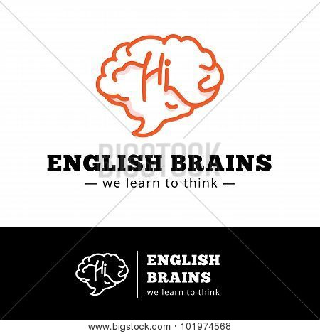 Vector english courses logo concept. Brain as a talking bubble logotype