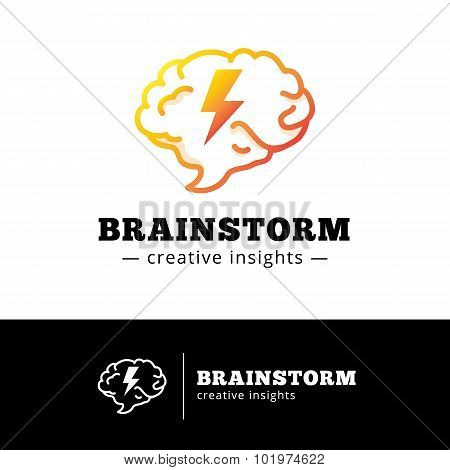 Vector brain with lightning logo concept. Creative gradient brainstorming logotype