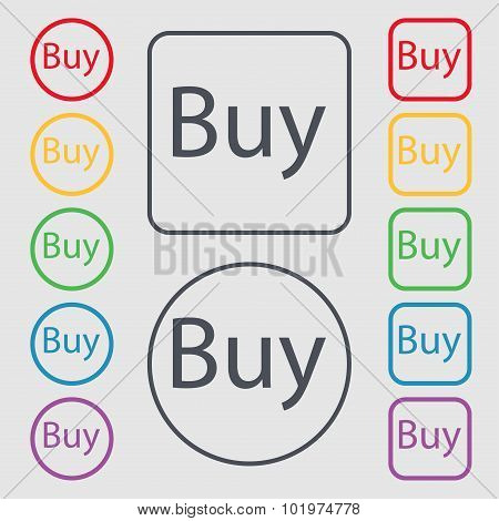Buy Sign Icon. Online Buying Dollar Usd Button. Symbols On The Round And Square Buttons With Frame.