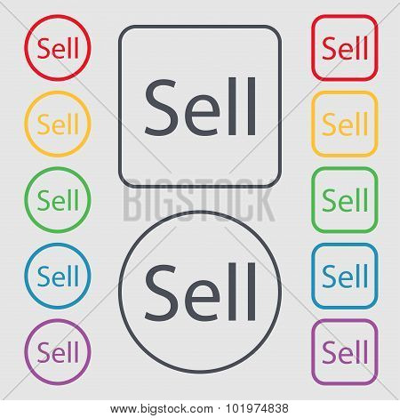 Sell Sign Icon. Contributor Earnings Button. Symbols On The Round And Square Buttons With Frame. Vec