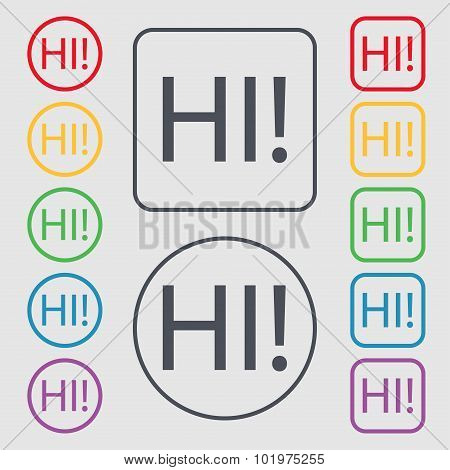Hi Sign Icon. India Translation Symbol. Symbols On The Round And Square Buttons With Frame. Vector