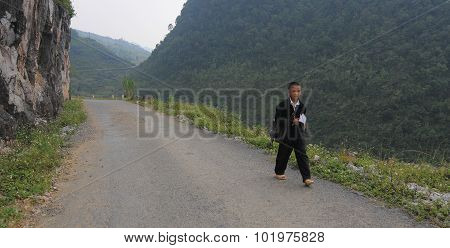 People Walking On Countryside Road