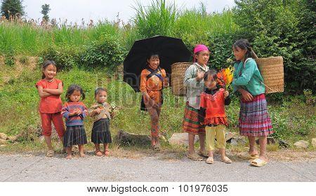 Ethnic Hmong Children In Sapa, Vietnam