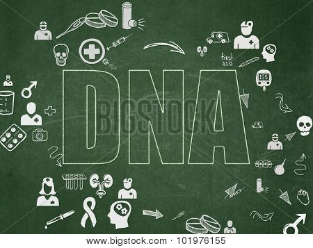 Medicine concept: DNA on School Board background