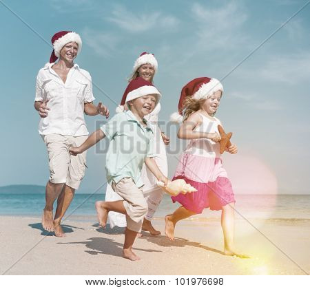 Family Running Beach Christmas Holiday Vacation Concept