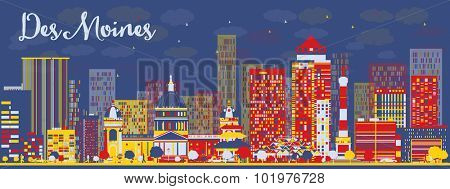 Abstract Des Moines Skyline with color Buildings. Vector Illustration