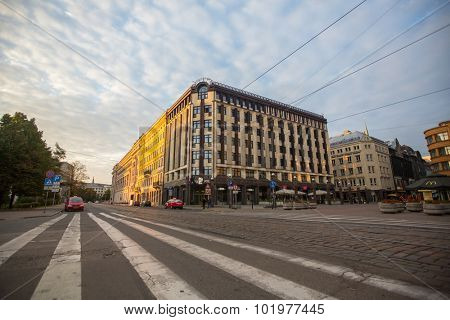RIGA, LATVIA - SEN 13, 2015: One of the streets of old Riga. Riga has long been a Hanseatic city, there are buildings of different styles from medieval to modern architecture.