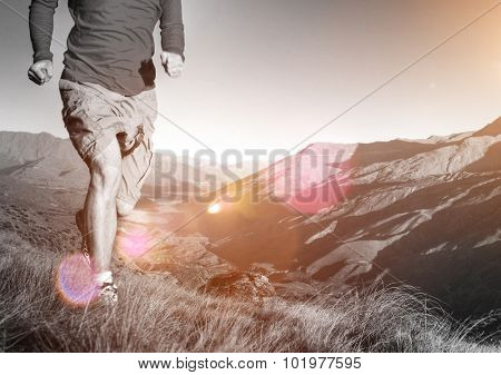 Man Jogging Mountains Exercise Healthy Concept