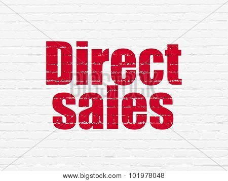 Advertising concept: Direct Sales on wall background