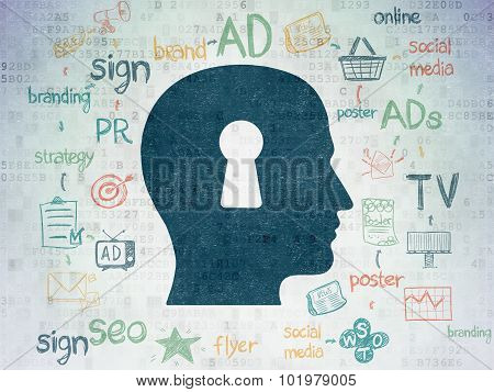 Advertising concept: Head With Keyhole on Digital Paper background
