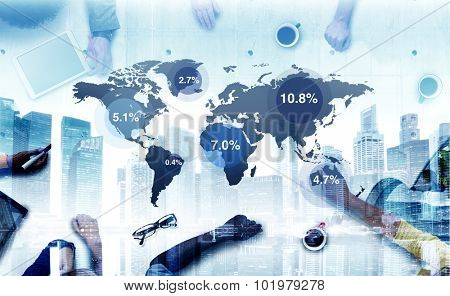 Business People Brainstorming Global Business Percentage Concept