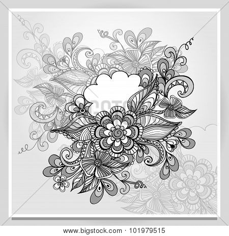 DoDoodle flowers frame with cloud in grey