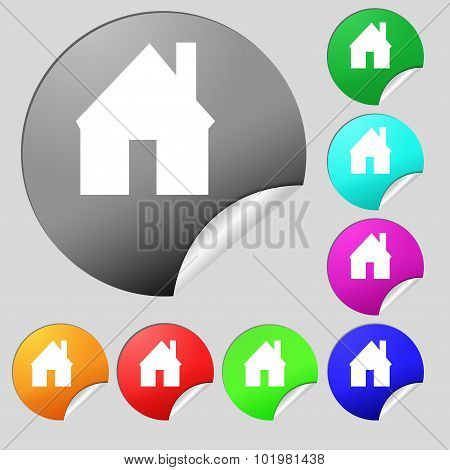 Home Sign Icon. Main Page Button. Navigation Symbol. Set Of Eight Multi Colored Round Buttons, Stick