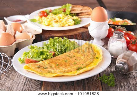 omelet,scrambled egg and boiled egg