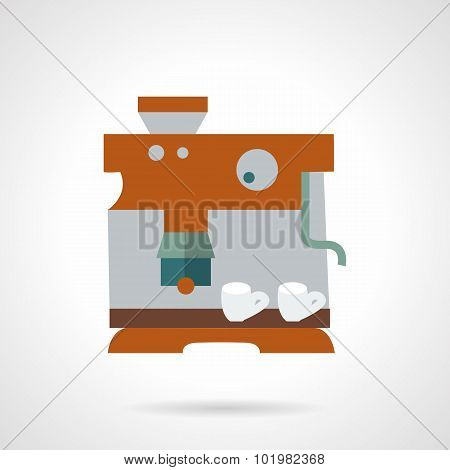 Flat color coffee maker vector icon