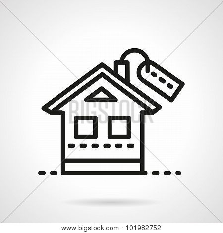 Mortgage simple black line vector icon.