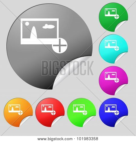 Plus, Add File Jpg Sign Icon. Download Image File Symbol. Set Of Eight Multi Colored Round Buttons,