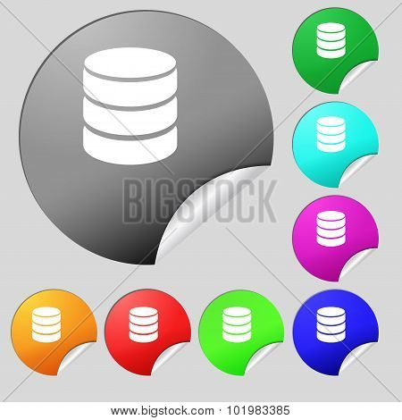 Hard Disk And Database Sign Icon. Flash Drive Stick Symbol. Set Of Eight Multi Colored Round Buttons
