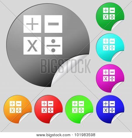 Multiplication, Division, Plus, Minus Icon Math Symbol Mathematics. Set Of Eight Multi Colored Round