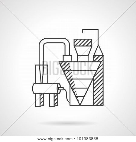 Waste recycling factory line vector icon