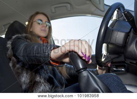 Confident female driver