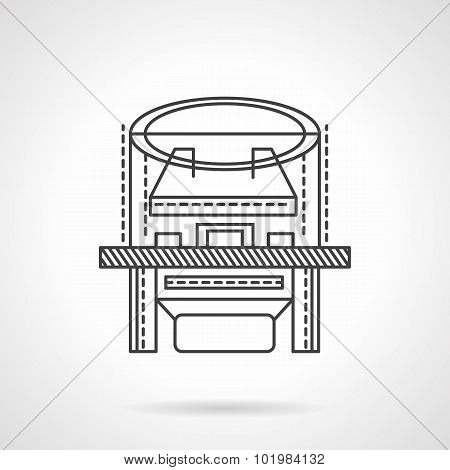 X-ray machine flat line vector icon