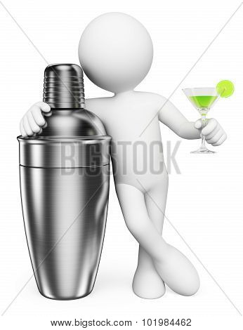 3D White People. Man With A Shaker And A Cocktail