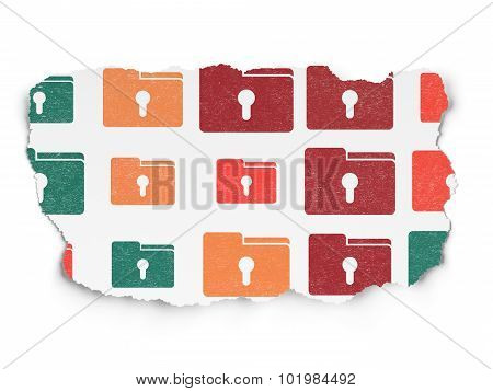 Finance concept: Folder With Keyhole icons on Torn Paper background